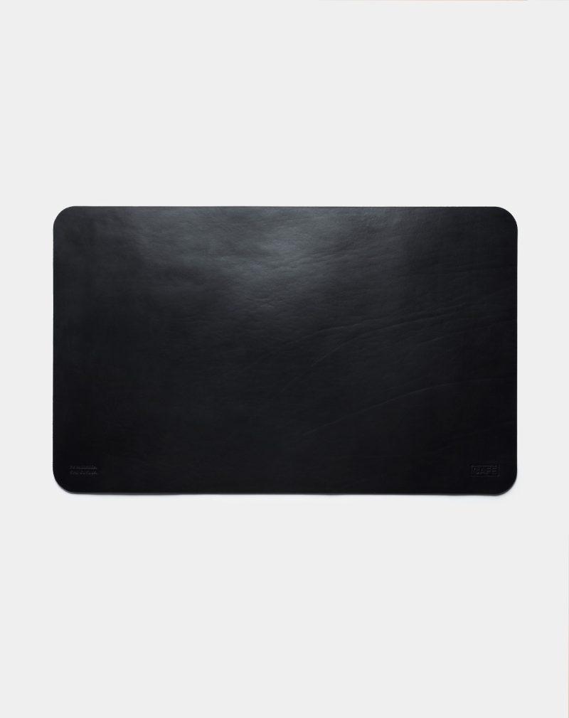 leather desk pad black front