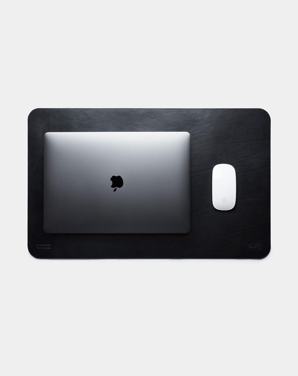 leather desk pad black device
