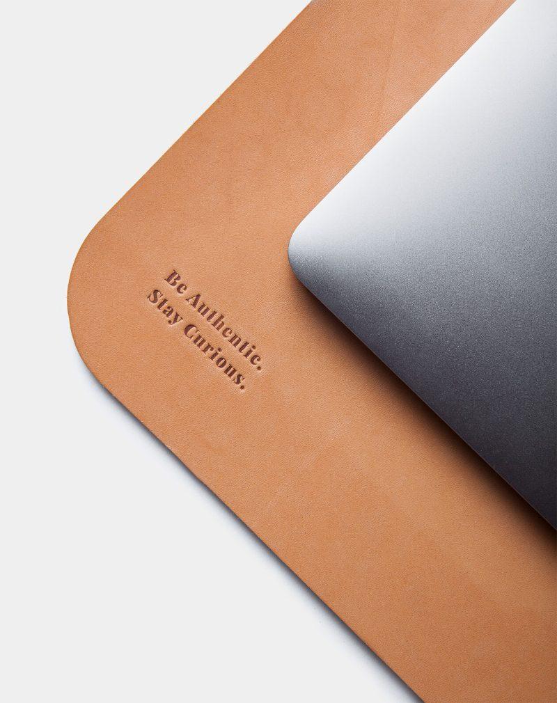leather desk pad natural detail
