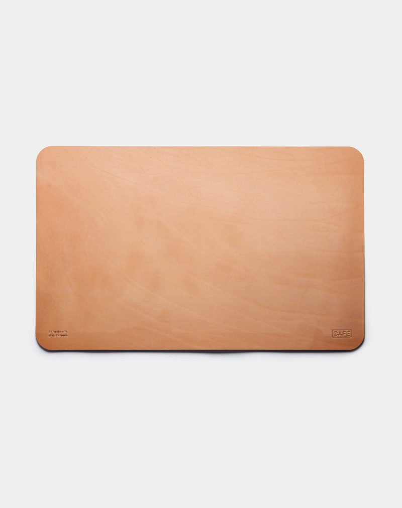 leather desk pad natural front