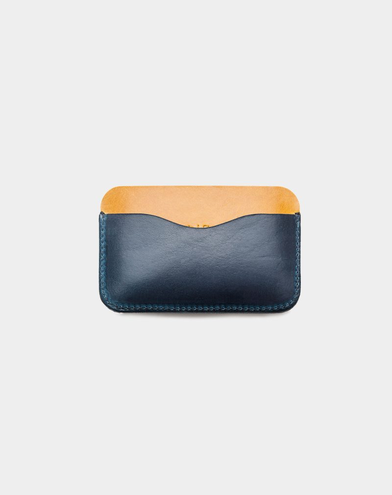 panama leather card holder blue and yellow