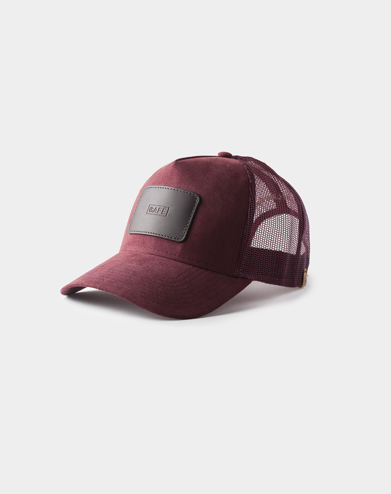suede mesh cap burgundy black coffee