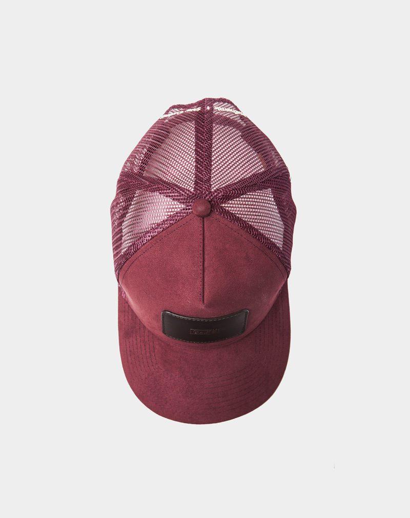 suede mesh cap burgundy black coffee