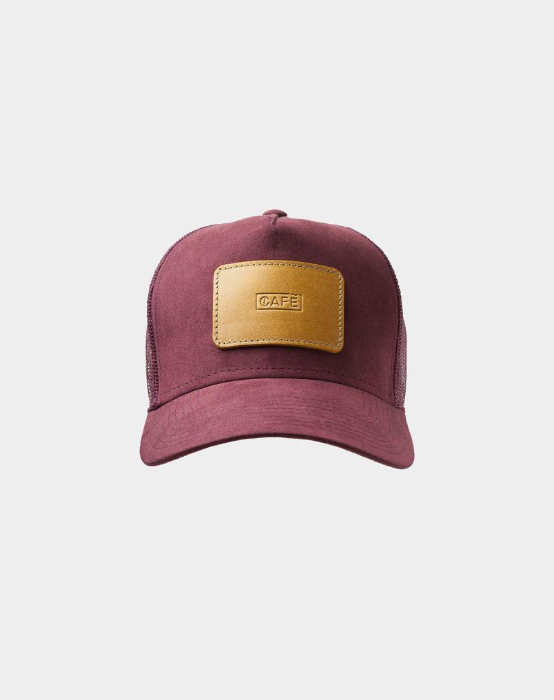 suede mesh cap burgundy spicy mustard