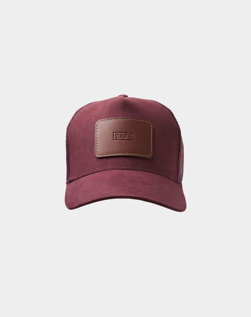 suede mesh cap burgundy roasted front