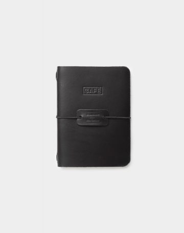 Leather a6 notebook all black front