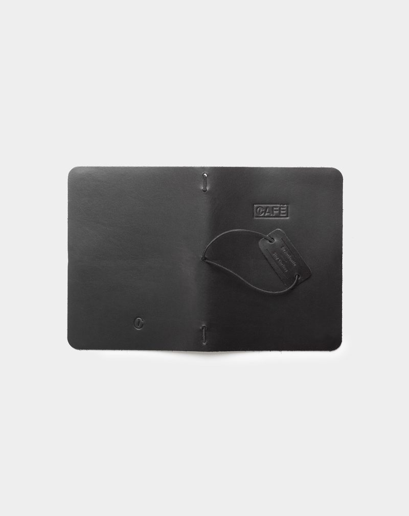 Leather a6 notebook all black open