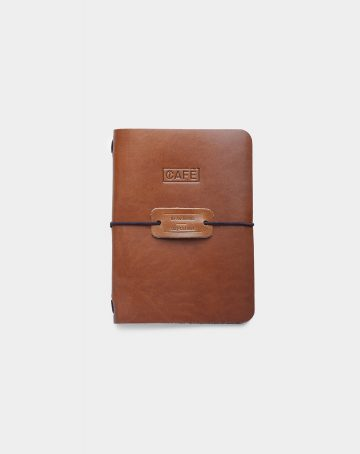 Leather a6 notebook roasted front