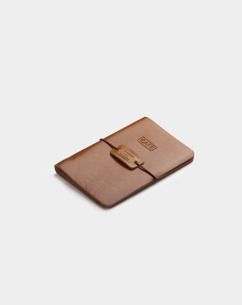 Leather a6 notebook roasted side