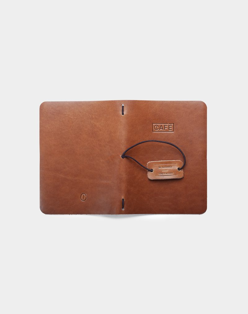 Leather a6 notebook roasted open